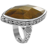 925 Sterling Silver Multi Faceted Tiger Eye Marquise Cut Ring