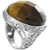 925 Sterling Silver Tiger Eye 1 inch Round Ring