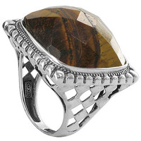 925 Sterling Silver Multifaceted Simulated Tiger Eye Square Ring