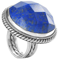 925 Sterling Silver Simulated Blue Lapis Lazuli Round Ring #AFRS018