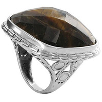 925 Sterling Silver Multifaceted Simulated Tiger Eye 1.1 inch Square Designer Ring #AFRS021