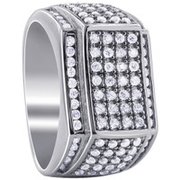 Men's Sterling Silver Cubic Zirconia with Micro Pave Set accents Ring