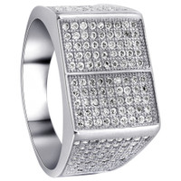 925 Sterling Silver Round Cubic Zirconia with Micro Pave Set accents Ring #ANRS007