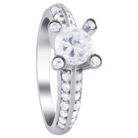 925 Sterling Silver Cubic Zirconia 7.5mm Solitaire with Accents Ring