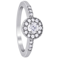 925 Sterling Silver Round Cubic Zirconia 7mm Ring #ANRS031