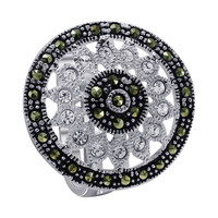 925 Sterling Silver Cubic Zirconia with Studded Marcasite Floral Design Ring #ARRS001