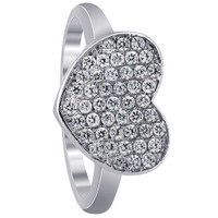 925 Sterling Silver Micro Pave Set Round Cubic Zirconia Heart Ring #ARRS002