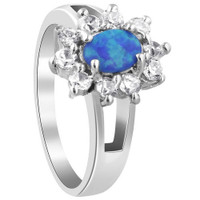 Sterling Silver Oval Created Opal with 2mm Cubic Zirconia Ring