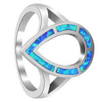 Sterling Silver Created Opal 12mm x 17mm Teardrop 2mm Ring