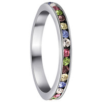 Sterling Silver Multi Color Cubic Zirconia Channel Set 3mm Eternity Band