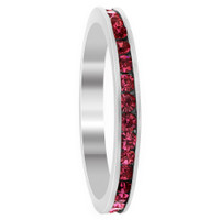 Sterling Silver Dark Pink ice Cubic Zirconia Channel Set 3mm Eternity Band