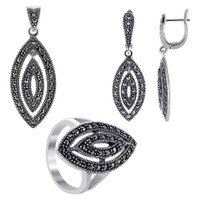 925 Sterling Silver Marcasite accented Marquise Shape Earrings Pendant and Rings Jewelry Set