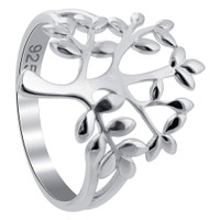 925 Sterling Silver Polished Finish Tree Of Life Ring