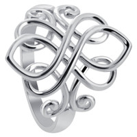 925 Sterling Silver Rhodium Plated Unique Celtic Ring