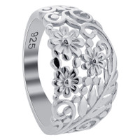 925 Sterling Silver Polished Finish Floral Arrangement Ring