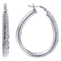 925 Sterling Silver Round Cubic Zirconia Hoop Earrings