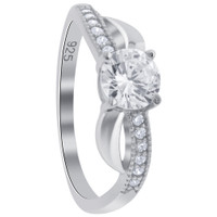 925 Sterling Silver Round Cubic Zirconia Engagement Ring