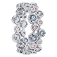 925 Sterling Silver Aquamarine and Pink Elegant Cubic Zirconia Band