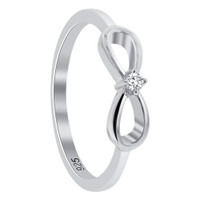 925 Sterling Silver Round Clear Cubic Zirconia Solitaire Infinity Ring