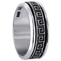 Mens 925 Sterling Silver 8mm Square Maze Spinning Band