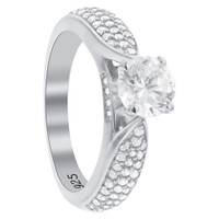 925 Sterling Silver Round Cubic Zirconia Engagement Ring #GR238