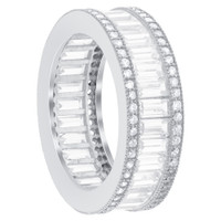 925 Sterling Silver Emerald Cut Cubic Zirconia 7mm Eternity Band