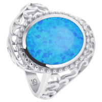 925 Sterling Silver Extravagant Oval Created Blue Opal Swirl Design Ring