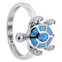 Created Blue Opal 925 Sterling Silver Turtle Ring