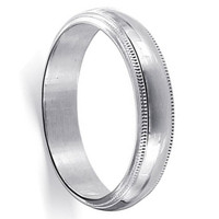 Mens 925 Sterling Silver Milgrain Band