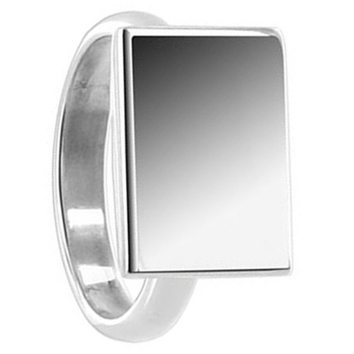 925 Sterling Silver Engravable 11 x 15mm Rectangular Ring