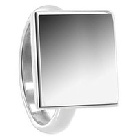 925 Plain Sterling Silver Engravable 13mm Square Ring #BDRS029