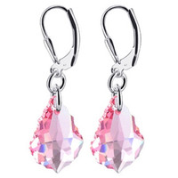 925 Sterling Silver Baroque Shape Light Rose Crystal Handmade Leverback Drop Earrings