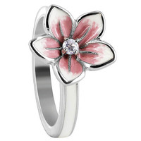 925 Sterling Silver Flower with Clear Cubic Zirconia White and Pink Enamel Ring #BIRS008