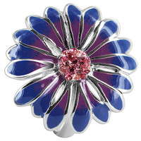 925 Sterling Silver Flower with Light Rose Cubic Zirconia Blue and Purple Enamel Ring