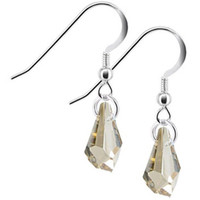 Polygon Topaz Color Crystal Drop Sterling Silver Earrings