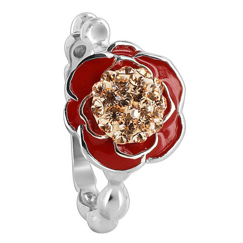 925 Sterling Silver 11mm Rose Design Red Enamel with Gold Quartz Stones Ring
