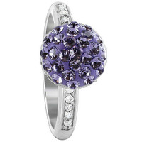 925 Sterling Silver Round Ball Studded with Tanzanite and Clear Stone 3mm Ring #BIRS017