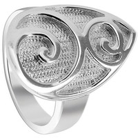 925 Sterling Silver Teardrop with Swirled Design 3mm Ring