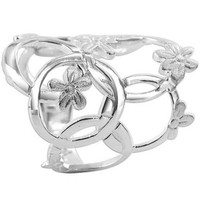925 Plain Sterling Silver Multi Circle and Flower Design 4mm Ring #CBRS003