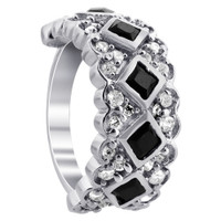 925 Sterling Silver Black and Clear Cubic Zirconia Heart Design Ring #CSRS003