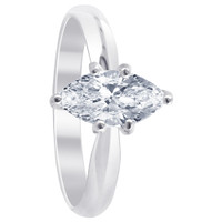 Sterling Silver Clear Cubic Zirconia Marquise Cut 3mm Solitaire Ring
