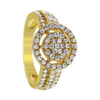 Gold Over 925 Sterling Silver Round Cubic Zirconia Ring #DDRS006