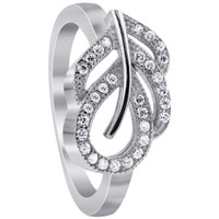 925 Sterling Silver Round Cubic Zirconia Designer Leaf Ring