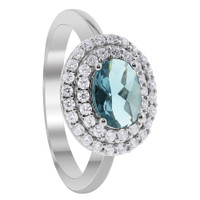 Sterling Silver Aquamarine Color Cubic Zirconia Solitaire with Accents Ring