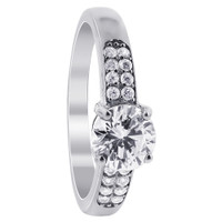 Sterling Silver Cubic Zirconia Solitaire with Accents Ring