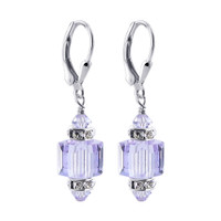 Lavender Swarovski Crystal 925 Sterling Silver Drop Earrings #BHER077