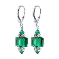 Emerald Color Swarovski Crystal Cube Sterling Silver Drop Earrings
