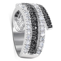 925 Sterling Silver Clear and Black Cubic Zirconia Journey Ring #DGRS002