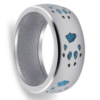 Sterling Silver Men's Turquoise Gemstone Southwestern Style Band