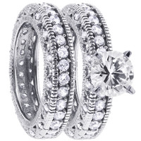 925 Sterling Silver Cubic Zirconia Engagement Ring Wedding Band Set #DSRS001